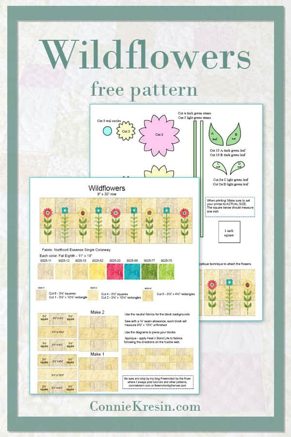 Free tutorial and pattern for the Wildflowers quilt row
