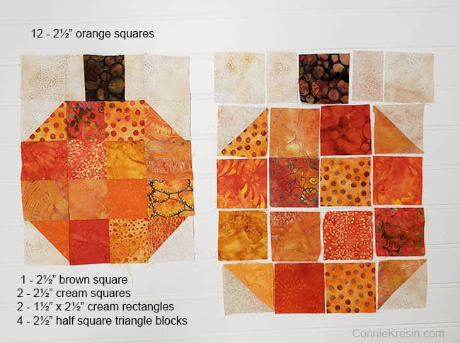 Batik Pumpkin Block tutorial cutting sizes