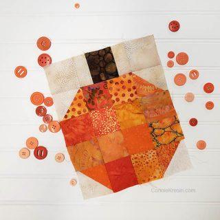 Batik Pumpkin Block tutorial with buttons
