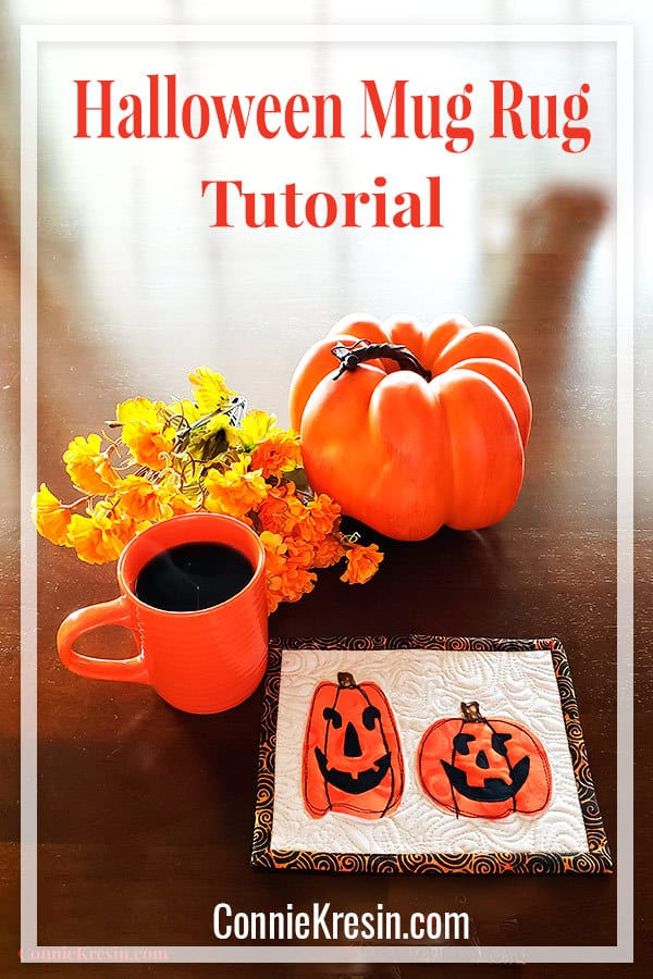 Fast and easy Halloween mug rug tutorial and free applique templates