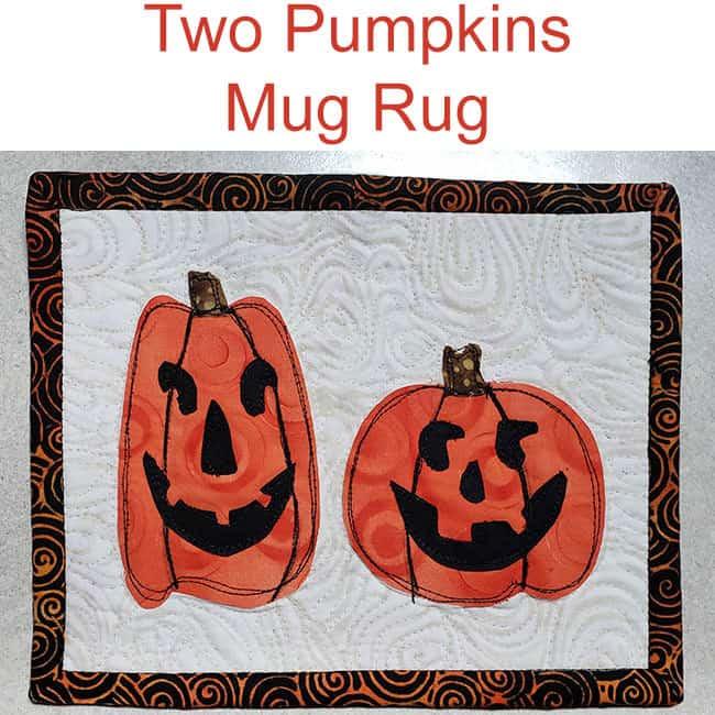 Two pumpkins mug rug tutorial-halloween