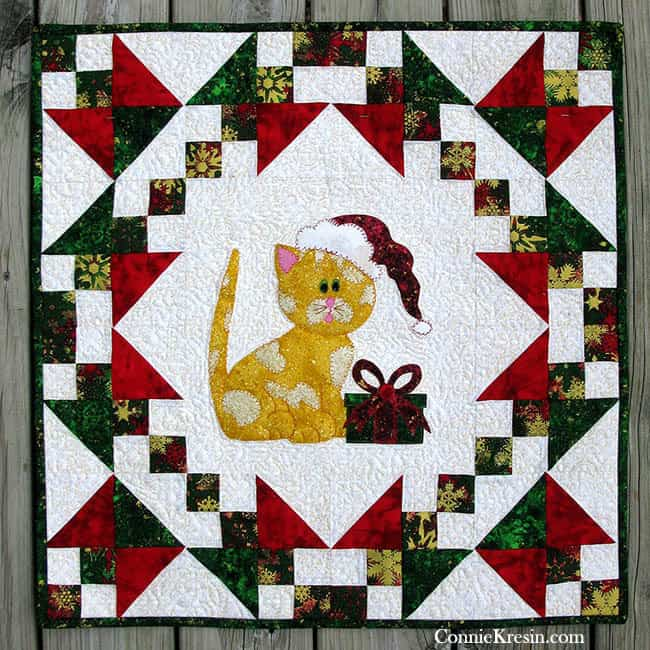 Christmas wall hanging with appliqued kitty