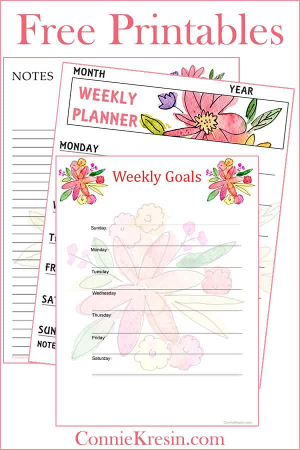 Free Printable Watercolor Floral set that includes notes and a weekly planner