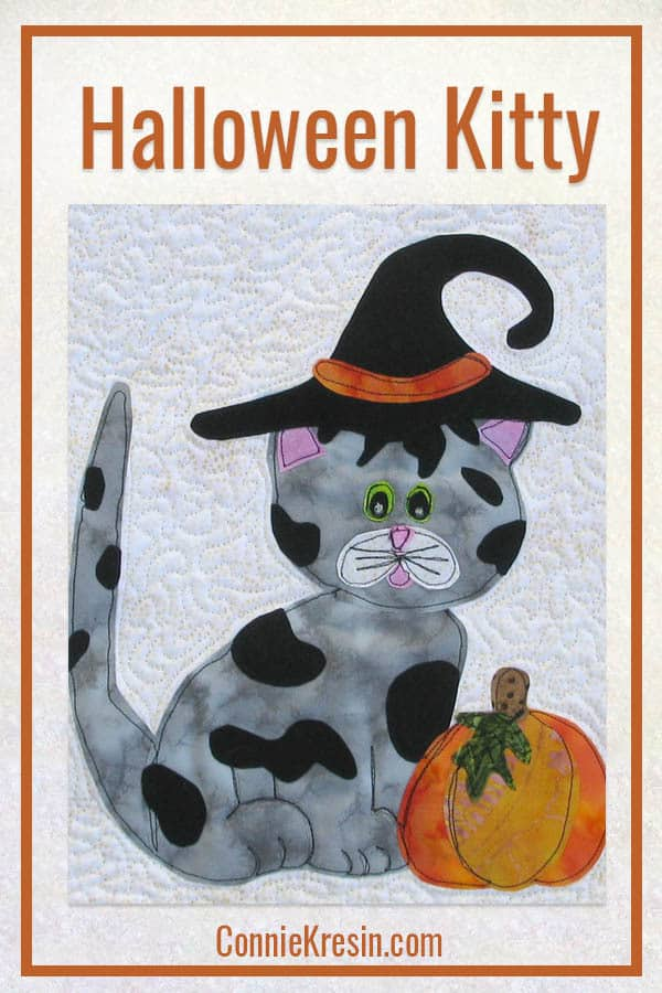 Halloween Kitty Kitty applique and wall hanging pattern