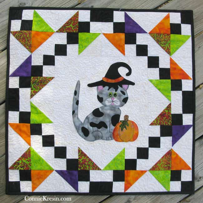 Halloween wall hanging with appliqued kitty