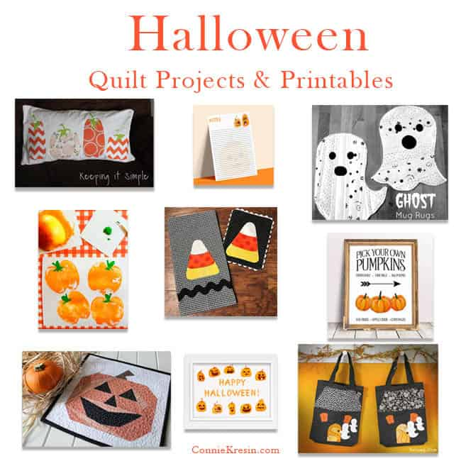 Roundup of Halloween quilt projects and printables