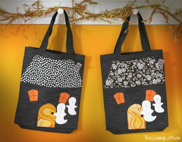 Haunted House Applique Tote Bag