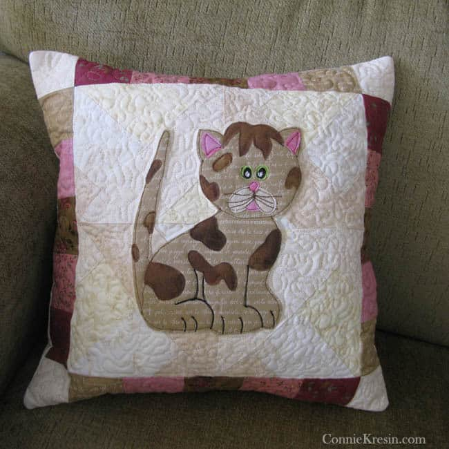 Kitty Kitty applique as a pillow