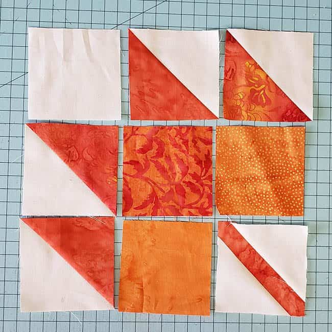 Maple Leaf quilt block sections
