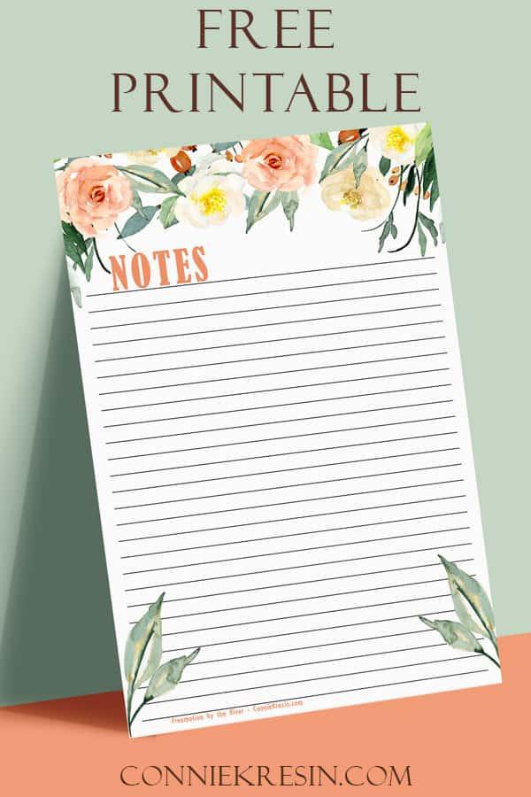 Free downloadable Watercolor flowers notepaper