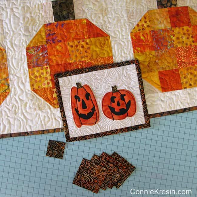 Two pumpkins mug rug scraps leftover