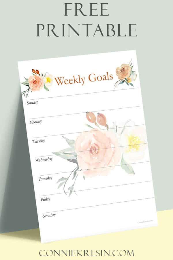 Free printable Weekly Goals