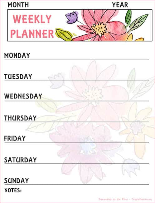 Watercolor Floral Weekly Planner printable