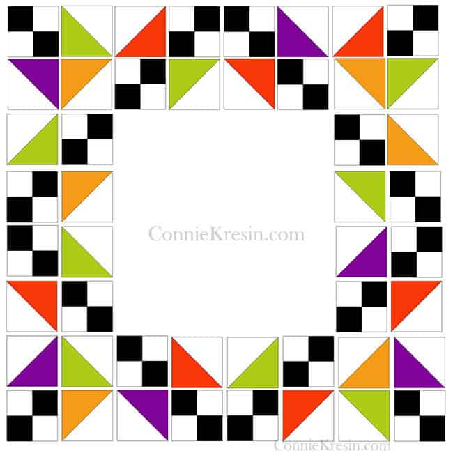 half square triangles and 4 squares for quilt