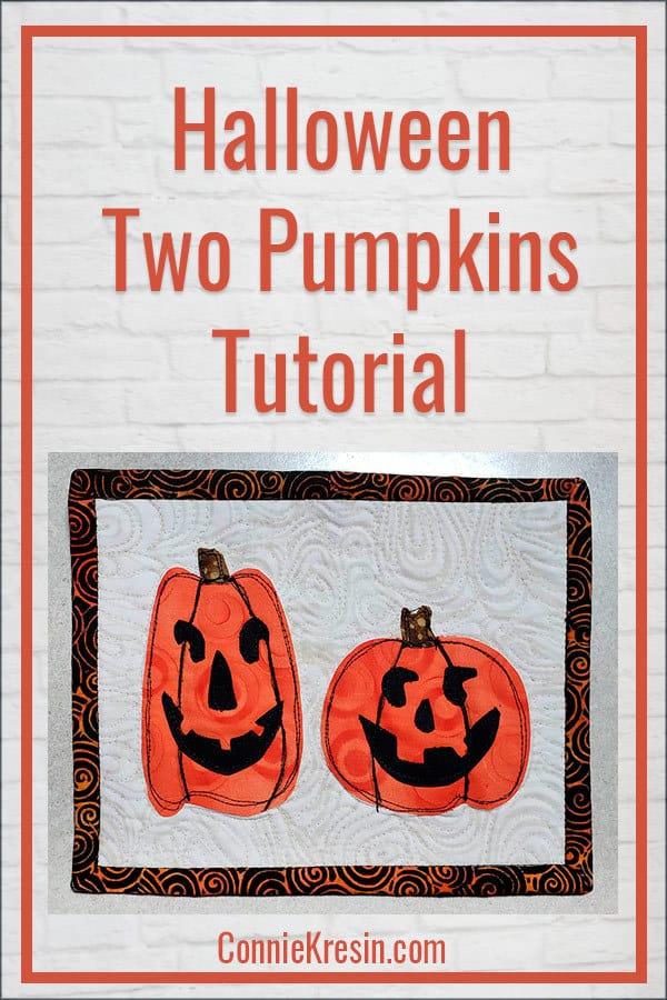 Halloween mug rug with two halloween pumpkins appliqued