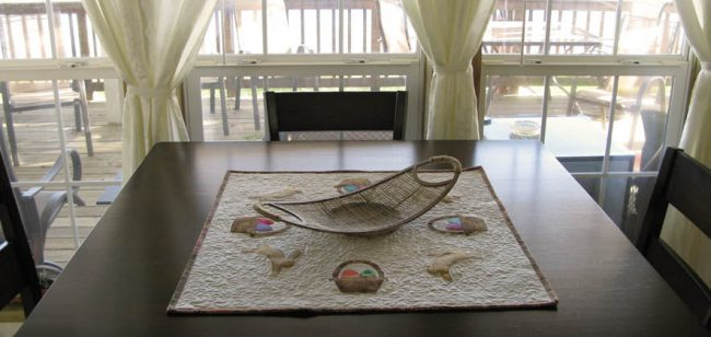 Spring Medley table topper on dining room table