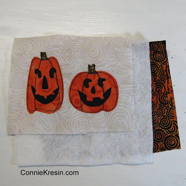 Two pumpkins mug rug batting and backing