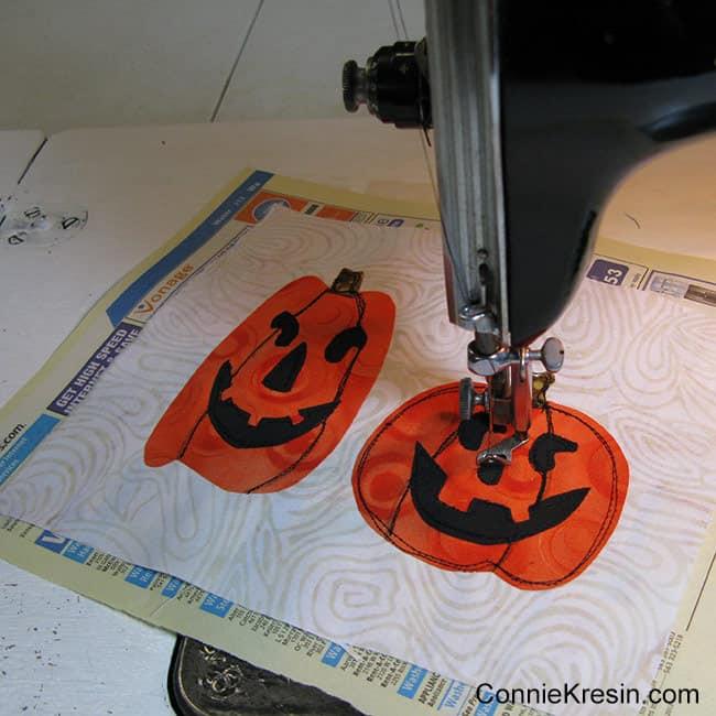 Halloween Two pumpkins mug rug using phone book paper for backing