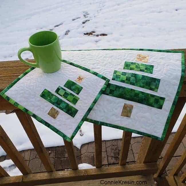 Wonky Christmas Tree Mug Rug and Placemat Tutorial on deck