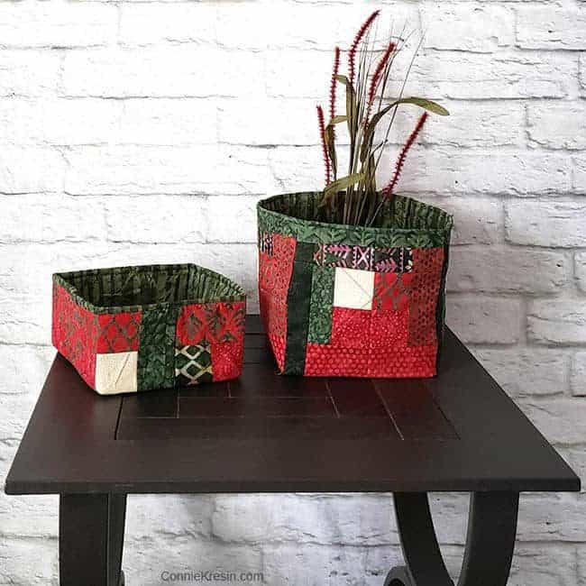 Christmas log cabin block fabric baskets