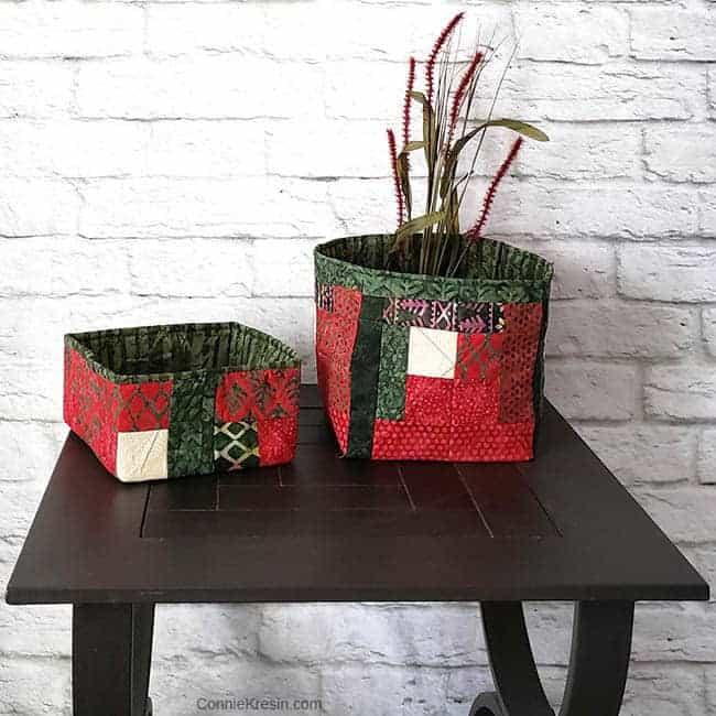 Christmas log cabin block fabric baskets