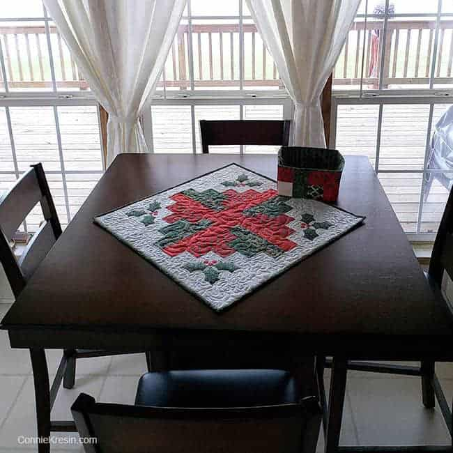 Log Cabin quilt block table topper made with batiks