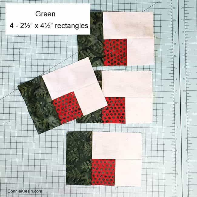 Christmas Logs quilt block step two
