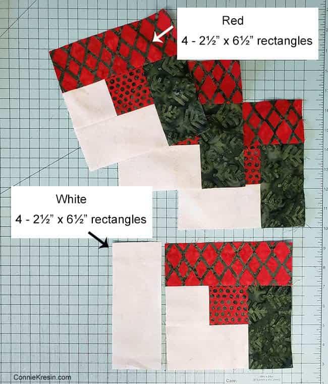 Christmas Logs quilt block step three