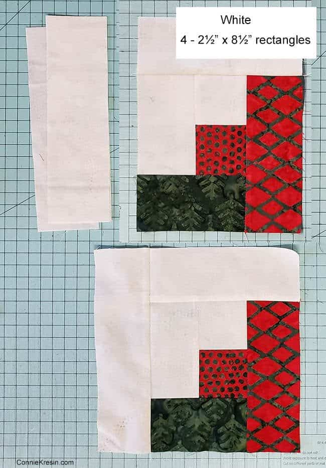 Christmas Logs quilt block step four