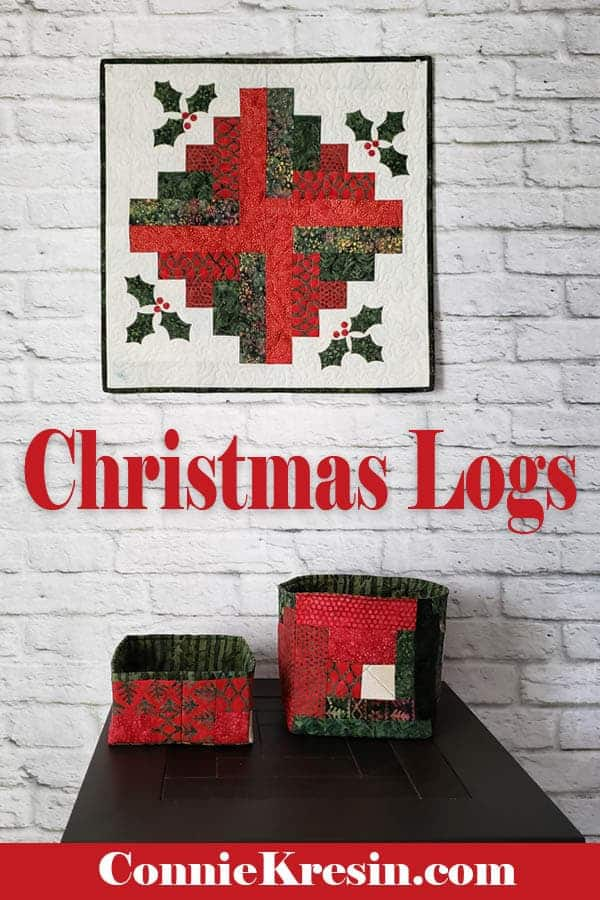 Log cabin quilt block for Christmas and matching batik baskets