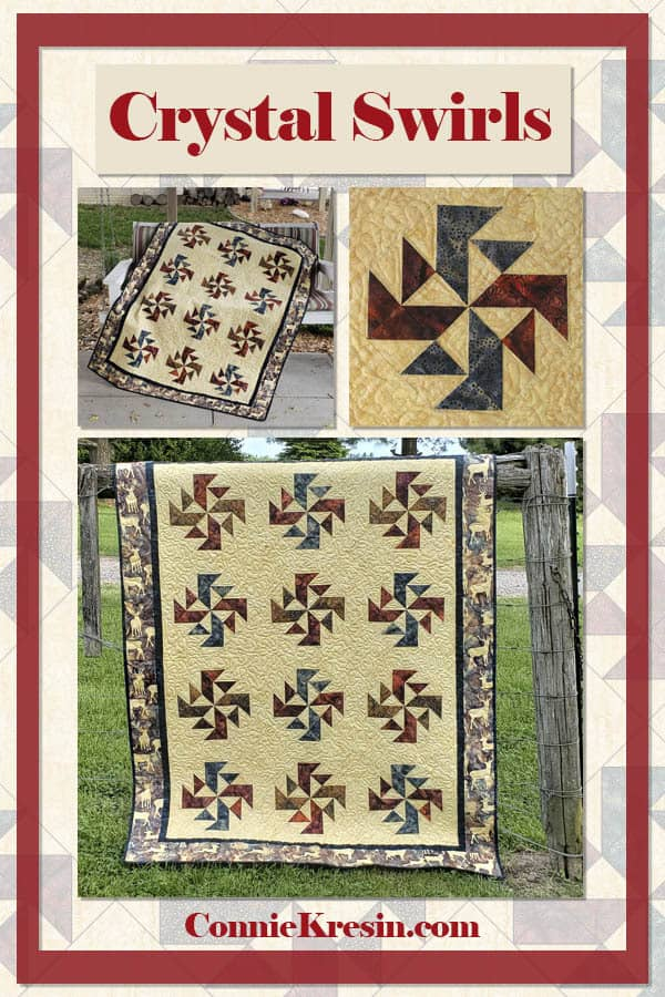 Crystal Swirls Quilt pattern in sections