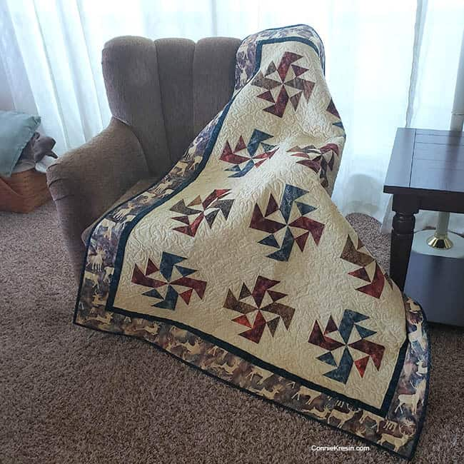 Crystal Swirls quilt on chair