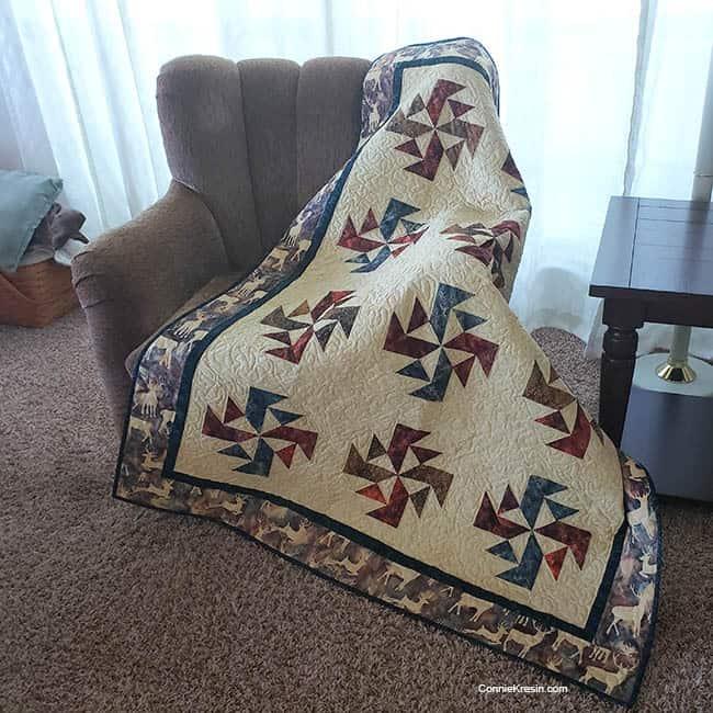 Crystal Swirls quilt on chair