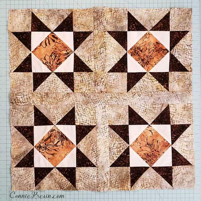 Diamond Stars four blocks sashed together
