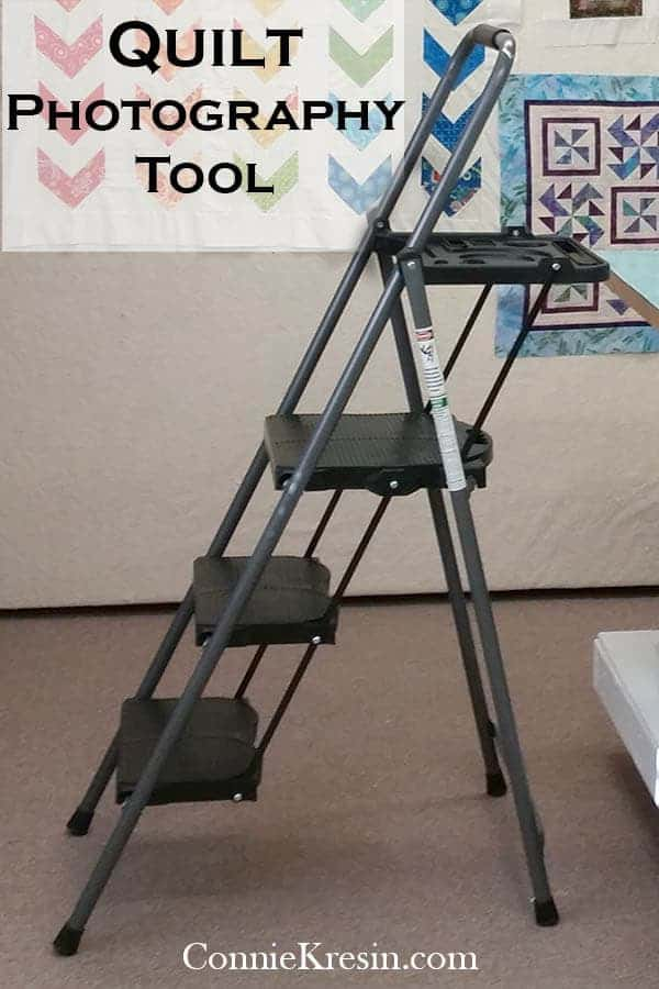 Step ladder used to take photos in quilt studio