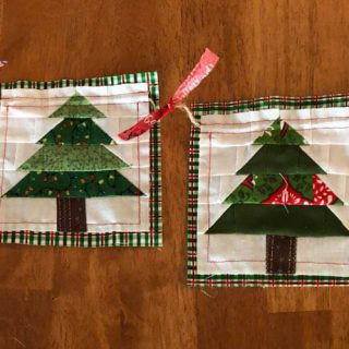 Christmas Tree mug rugs for a garland