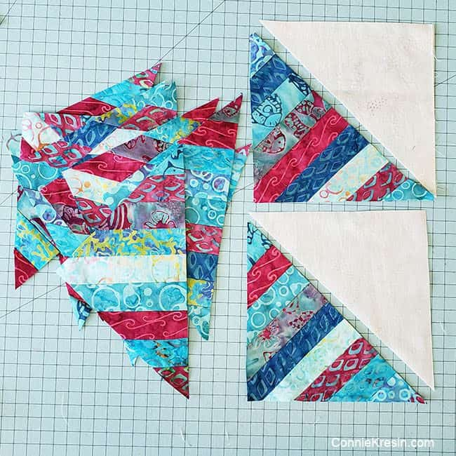 String Angles table runner strip pieced blocks sewn together