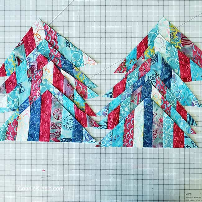String Angles table runner strip pieced block cut to a HST