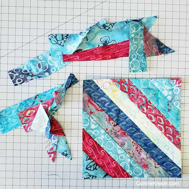 String Angles table runner strip pieced block trimmed