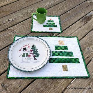 Wonky Christmas Tree Mug Rug and Placemat Tutorial