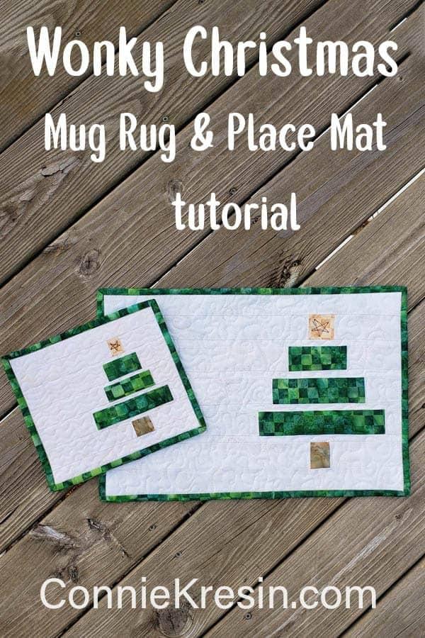 Wonky Christmas Tree Mug Rug and Placemat Tutorial