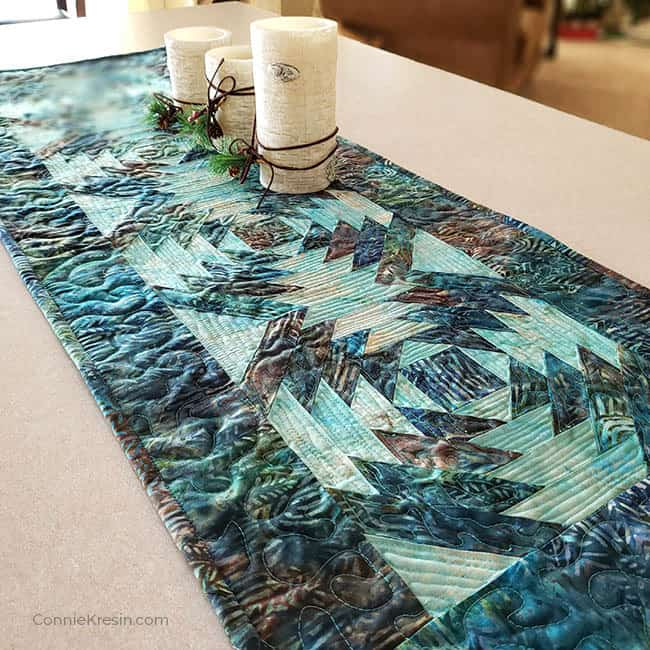 AccuQuilt GO! Pineapple die used for batik table runner