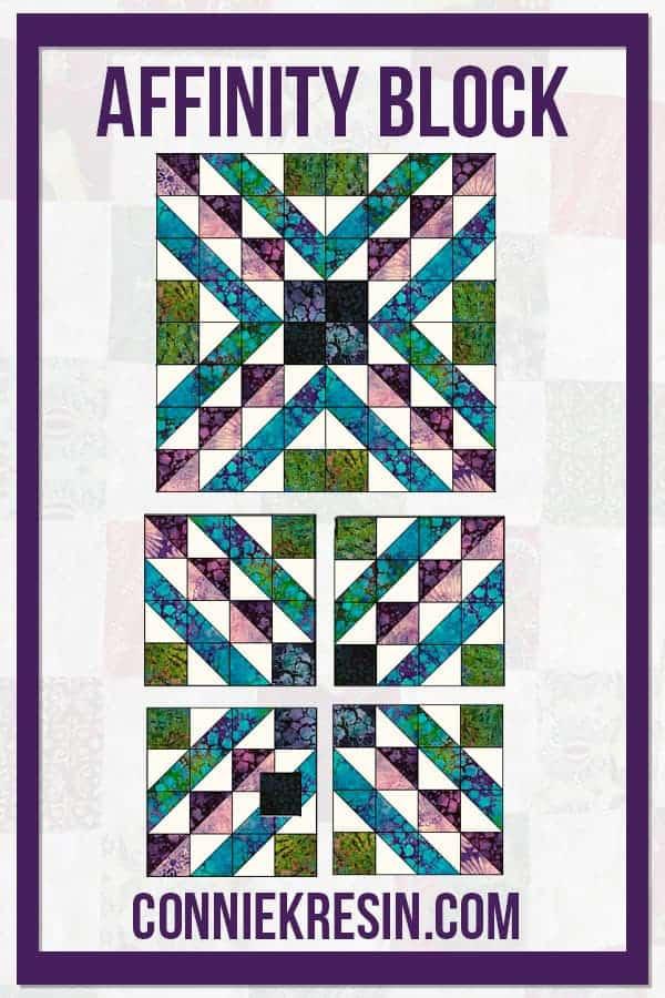 Diagram for the Affinity quilt block batik tutorial