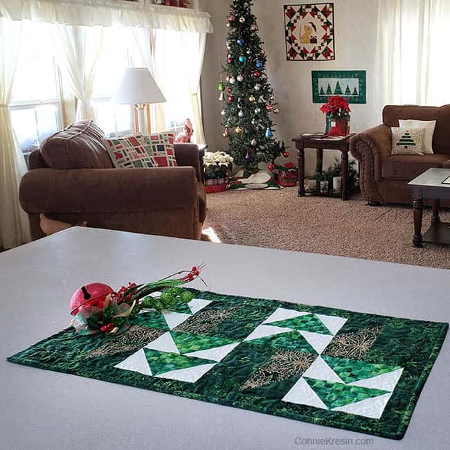 Winter Greens Easy Christmas Table Runner Tutorial living room