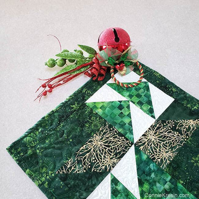 Winter Greens Christmas Table Runner Tutorial with ornament