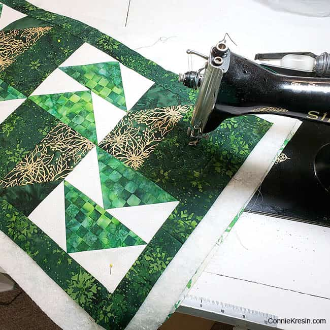 Winter Greens Christmas Table Runner Tutorial quilted on vintage Singer Sewing machine