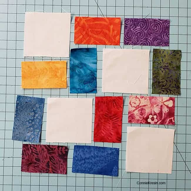 Piecing the crossroad quilt block