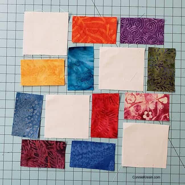 Piecing the crossroad quilt block