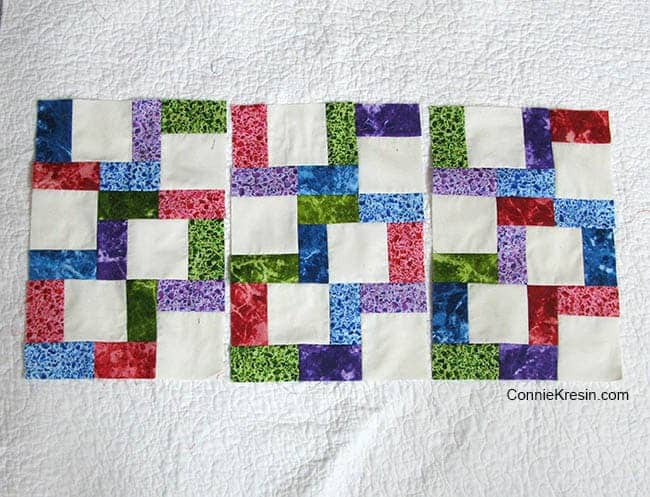 Crossroads tablerunner tutorial half of the block sewing nine sections