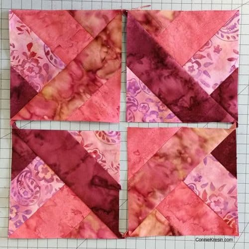 Hidden Wells batik quilt block block sections done